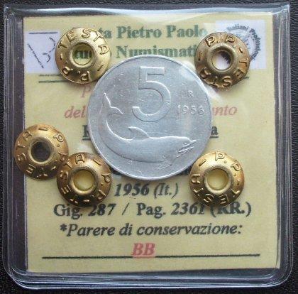 5 Lire 1956 BB - Periziata Pietro Paolo Testa