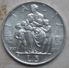 """5 Lire 1937 """"Fecondità"""" - Spl"""