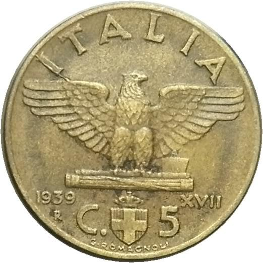 5 cent 1939 2 tipo