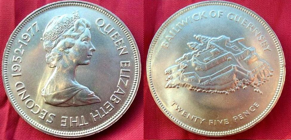 GUERNESEY 25 pence   Giubileo del 1977
