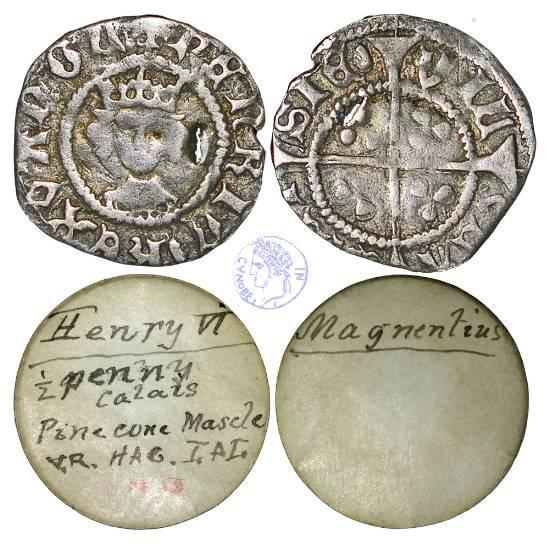 Enrico VI (1422-1461), mezzo penny, zecca di Calais