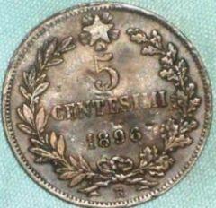 Regno d'Italia 5 centesimi 1896 Rovescio