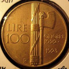 100 Lire 1923  Fascio        Reverse