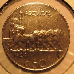 50 Centesimi Leoni 1924 Liscio - Reverse