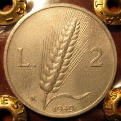 2 Lire 1949 Spiga   Reverse