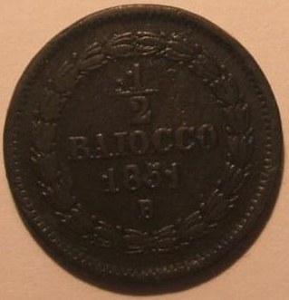 STATO PONTIFICIO mezzo BAIOCCO 1851 BOLOGNA AN. V PIO IX Rovescio