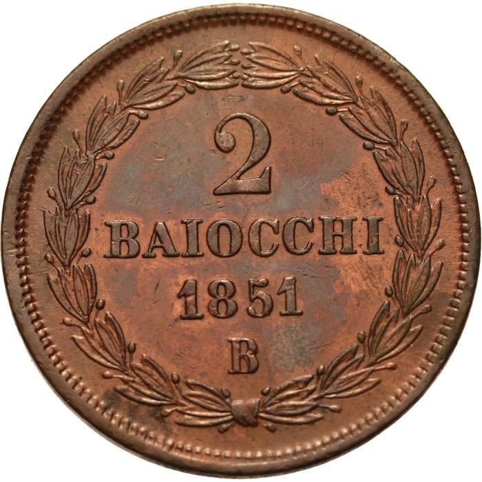 STATO PONTIFICIO due BAIOCCHI 1851 BOLOGNA AN. V PIO IX Rovescio