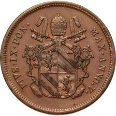 STATO PONTIFICIO due BAIOCCHI 1851 BOLOGNA AN. V PIO IX Dritto