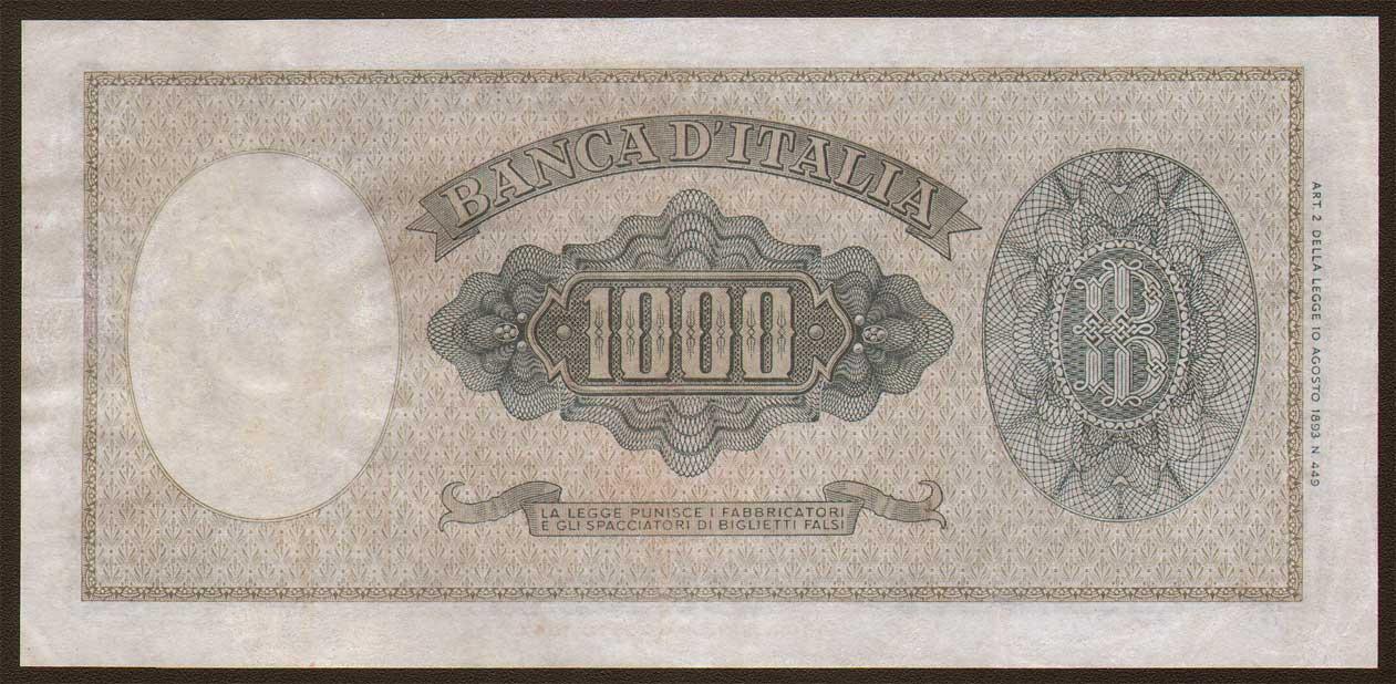 1000 Lire Testa ornata di perle - Medusa - Decreto 25/09/1961  - RETRO -