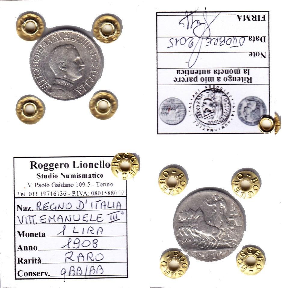 1 Lira Quadriga veloce 1908