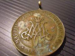 Medagia devozionale (ricordo),tonda, ottone/rame,datata 1898 ,Madonna dei poveri.