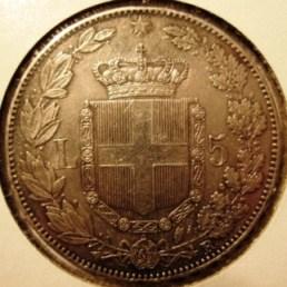 5 Lire 1879R Reverse