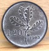 20 Lire 1983 R       Reverse        Metallo Bianco
