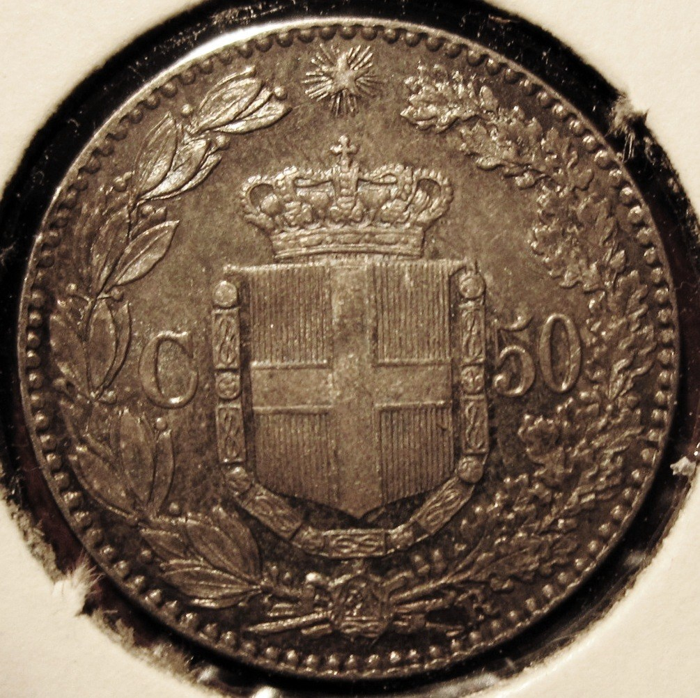 50 Centesimi 1889   Reverse