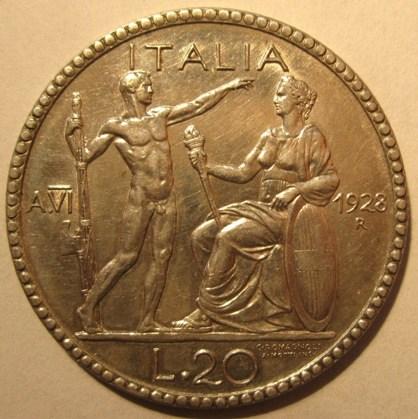 20 Lire 1928 R  VI Littore   Reverse=