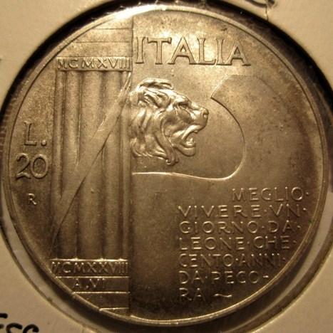 20 Lire 1928 R   Elmetto    Reverse