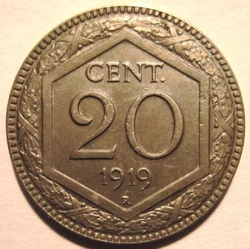 20 Centesimi 1919 Esagono Bordo Liscio  Reverse