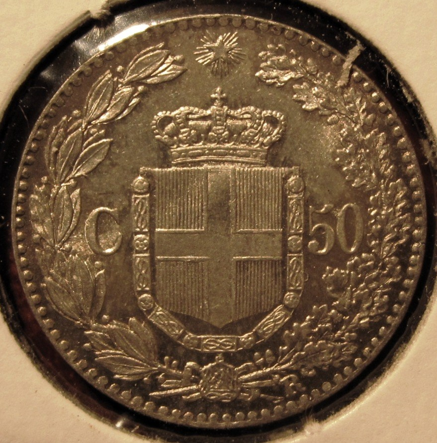 50 Centesimi 1892   Reverse