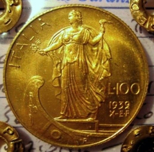 100 Lire 1932  X EF Italia Su Prora    Reverse