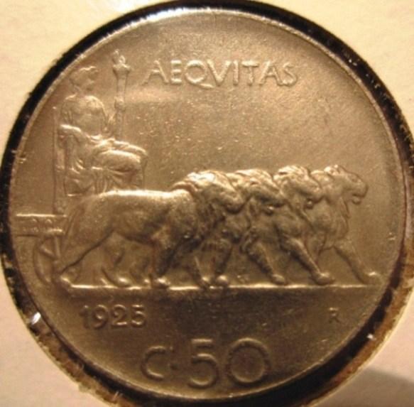 50 Centesimi 1925 Leoni Bordo  Rigato  Reverse
