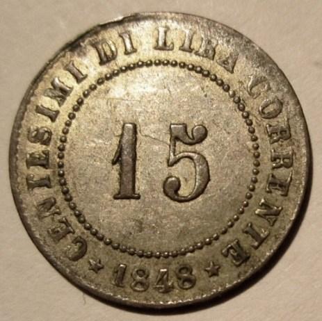 15 Centesimi 1848 Republica Rivoluzionaria Veneta  Reverse