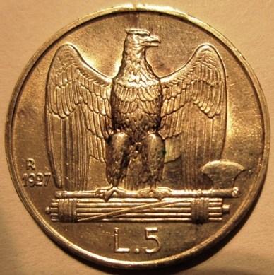 5 Lire 1927 R   Due Rosette   Reverse