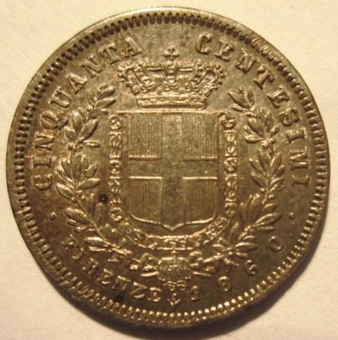 50 Centesimi 1860 F VEII Re Eletto   Reverse