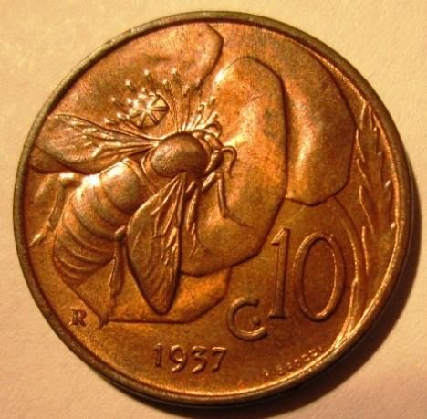 10 Centesimi 1937    Reverse