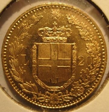 20 Lire 1893 R  Umbero I  Reverse