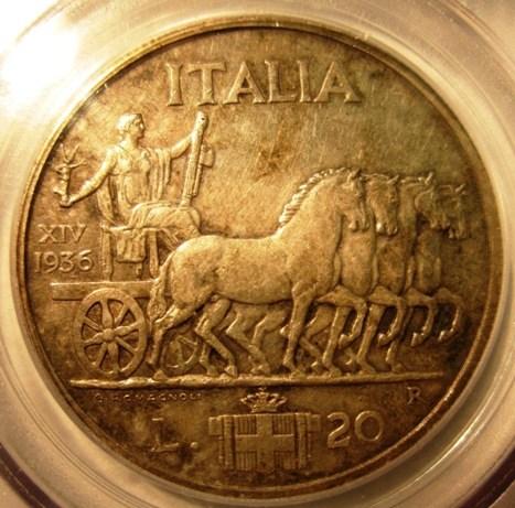 20 Lire 1936 Impero- Quadriga Lenta- Reverse