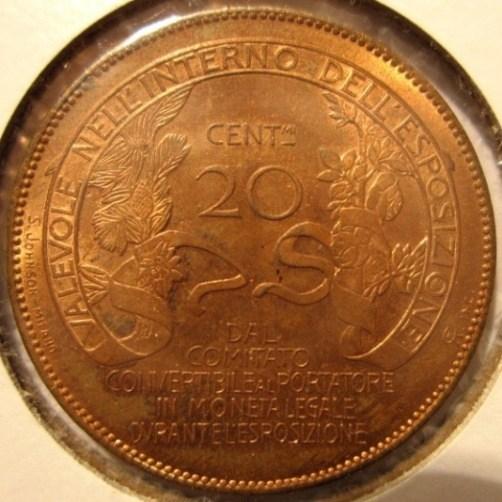 20 Centesimi 1928 Esposizione Milano   Reverse