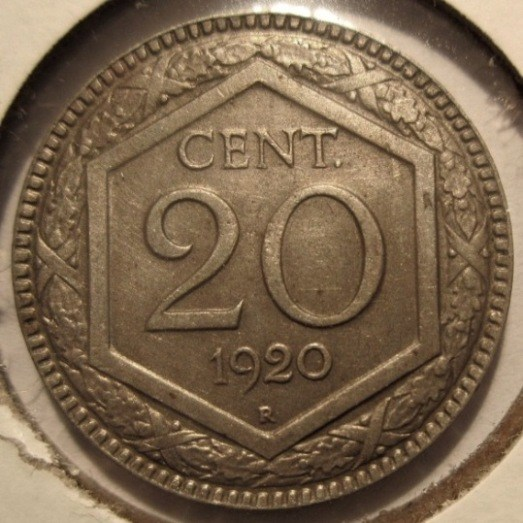 20 Centesimi 1920 Esagono  Reverse