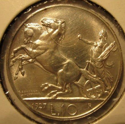 10 Lire 1927 R   Biga Reverse=