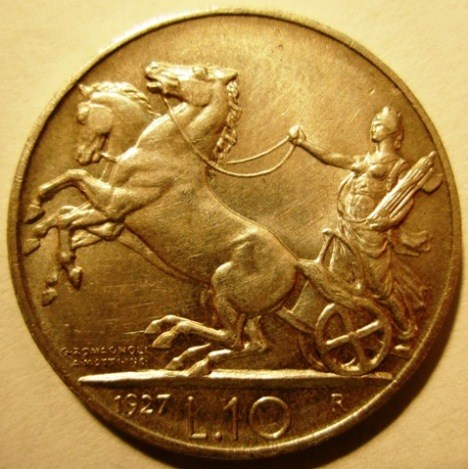 10 Lire 1927 R     Biga   Reverse