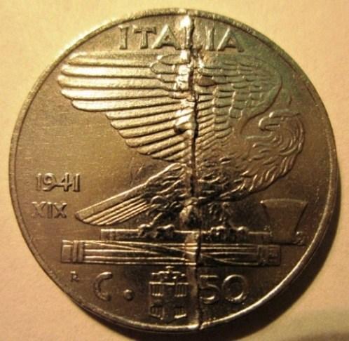50 Centesimi 1941 XIX  Conio fratturato  Reverse