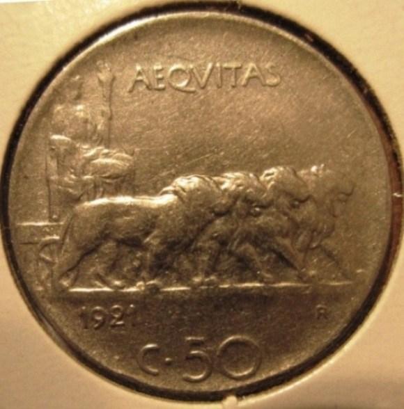 50 Centesimi 1921 Leoni   Bordo Rigato  Reverse