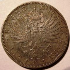 2 Lire 1905 Aquila Sabauda      Reverse