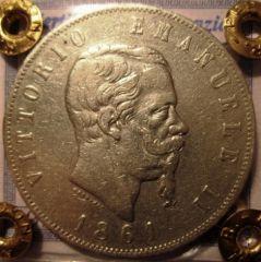 5 Lire 1861 T   Obverse