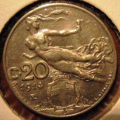 20 Centesimi 1914 Reverse