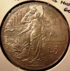5 Lire 1911 50 Unita' D'Italia