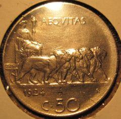 50 Centesimi 1924  Rigato Reverse