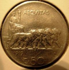 50 Centesimi 1919 Leoni   Bordo Rigato Reverse