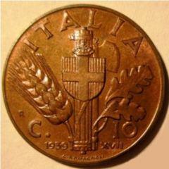 10 Centesimi 1939 Impero  1 Tipo   Reverse