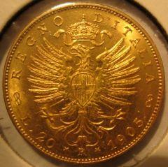 20 Lire 1905  Aquila Sabauda       Reverse