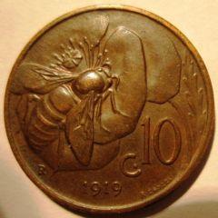 10 Centesimi 1919    Reverse