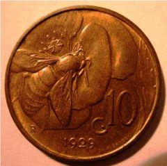 10 Centesimi 1929 Ape   Reverse