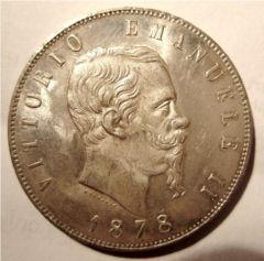 5 Lire 1878 R   Obverse
