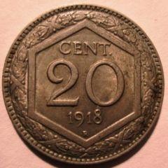 20 Centesimi 1918 Esagono Bordo Liscio Reverse