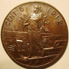 5 Centesimi 1912 R   Reverse=