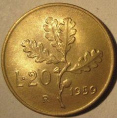 20 Lire 1959    Reverse